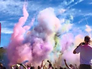ploom of colors against blue sky