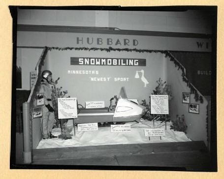 A Snowmobile exhibit, picture from the Park Rapids Chamber of Commerce scrapbook.