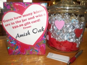 Guess the Kisses in the Jar AND Spin to Win at Amish Oak & Americana Furnishings.