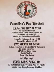 Valentine's Day Menu at Dorset Chick'n Coop Restaurant & Bar