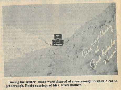 A picture in the Centennial Edition of the Park Rapids Enterprise shows early snowy roads.