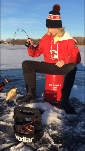 ice fishing action will catching bluegill