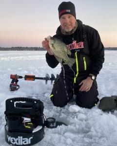 ice fishing josh crappie water drip sunset